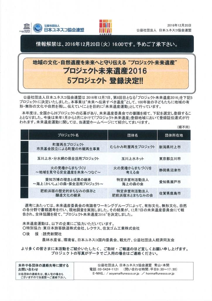 田畑氏未来遺産登録